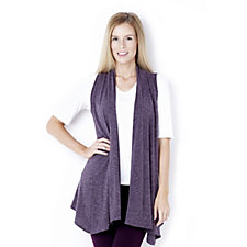 Kim & Co Melange Knit High Neck Drape Front Waistcoat