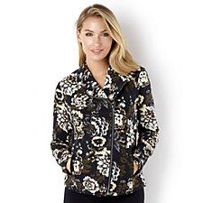 Isaac Mizrahi Live Tweed Floral Printed Moto Jacket