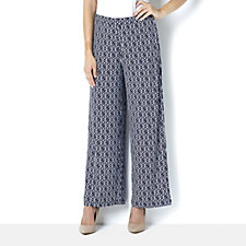 160204 - Printed Pull On Wide Leg Trousers by Susan Graver