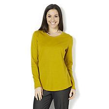 Isaac Mizrahi Live Essentials Silky Long Sleeve Curved Hem T-Shirt