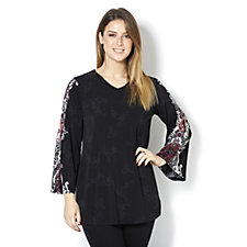 Attitudes by Renee Jersey Tunic with Pleat Sleeves