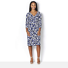 Kim & Co Brazil Knit Fresh Geo 3/4 Sleeve Faux Wrap Dress