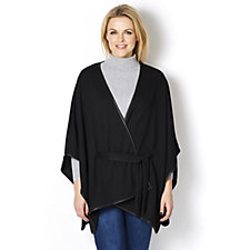 Mr Max Melange Knit Cape with Faux Leather Trim