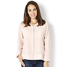 MarlaWynne Pebble Crepe Button Front Shirt with Side Slits