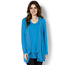 164004 - Jersey Cardigan & Top Set with Chiffon Trim by Michele Hope