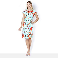 Ronni Nicole Round Neck Printed Scuba Midi Dress