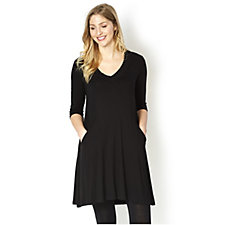 Join Clothes V Neck Dress with Seam Detail and Pockets
