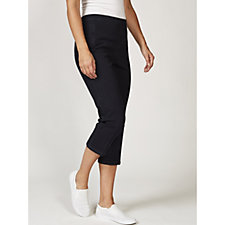 Isaac Mizrahi Live 24/7 Denim Crop Straight Leg Pull On Trousers