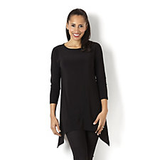 Outlet 3/4 Sleeve Shaped Hem Tunic by Nina Leonard