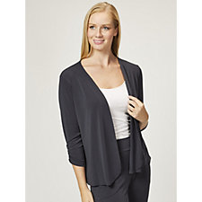Kim & Co Crepe Cardigan with Ruched Sleeves