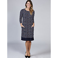 3/4 Sleeve Printed Dress with Front Pocket by Nina Leonard