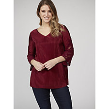 3/4 Sleeve V Neck Pleated Top by Nina Leonard
