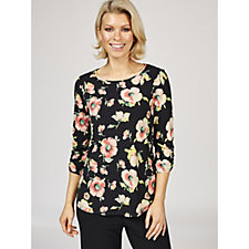 Kim & Co Printed Brazil Knit 3/4 Ruched Sleeve Top