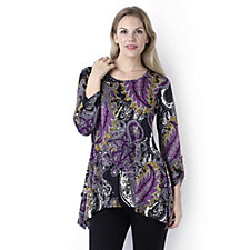 Antthony Designs Printed Assymetric Hem Long Sleeved Jersey Top