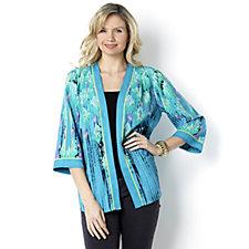 Bob Mackie 3/4 Sleeve Enchanted Print Kimono Jacket