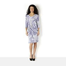 Tiana B Tile Print Cowl Neck 3/4 Sleeve Dress