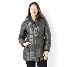 Centigrade Quilt Effect Coat w/ Gathered Collar & Detachable Faux Fur Trim Hood
