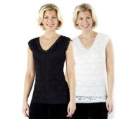 Slim 'n Lift Pack of 2 Caresse Lace Sleeveless Tops