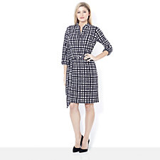 3/4 Sleeve Printed Shirt Dress by Nina Leonard
