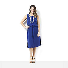 158805 - C. Wonder Sleeveless Midi Dress with Embroidered Neck