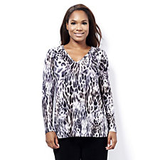 Kim & Co Brushed Venechia Leopard Breeze Long Sleeve V Neck Top