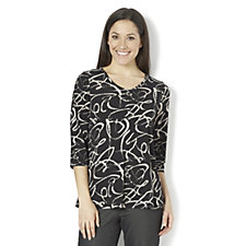 Kim & Co Brazil Knit Graffiti Print 3/4 Sleeve Top