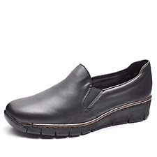 Rieker Leather Slip On Shoe with Low Wedge Heel