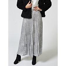 167005 - H by Halston Metallic Knit Pleated Maxi Skirt
