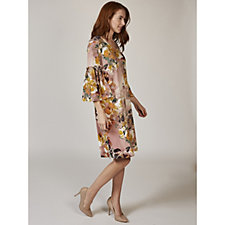 3/4 Sleeve Printed Crepe Trapeze Dress with Flared Cuff by Nina Leonard