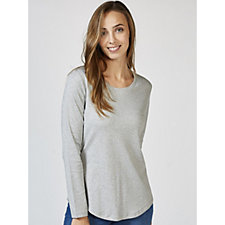 Isaac Mizrahi Live Essentials Silky Long Sleeve Curved Hem Top