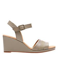 Clarks Lafley Aletha Leather Sandal with Wedge Heel Standard Fit