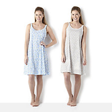 Carole Hochman 2 Pack Tank Chemise with Shiny Cover Stitch