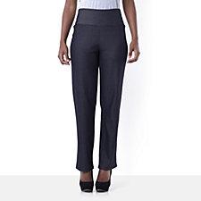 Kim & Co Stretch Denim Wide Waistband Straight Leg Trouser