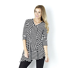 Yong Kim Asymmetrical Stripe Deep V Neck Tunic