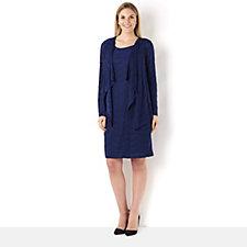 Tiana B Solid Textured Knit Jacket Dress