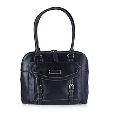 Tignanello Buckle Distressed Vintage Leather Dome Shopper with Front Pocket