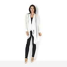 160606 - Andrew Yu Square Knit Drape Front Long Cardigan