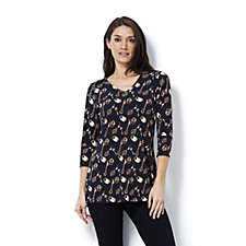 Women with Control V Neck Lock & Key Print Tunic