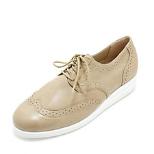 Vitaform Stretch and Leather Lace Up Brogue with Slight Wedge Heel