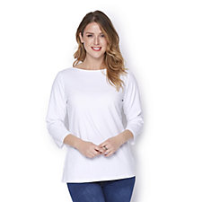 Denim & Co. Essentials Bateau Neck 3/4 Sleeve Top