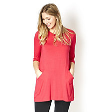 Join Clothes Seam Detail Round Neck Tunic Top