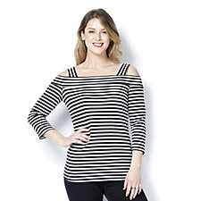 Mr Max Striped Cold Shoulder Long Sleeve Top