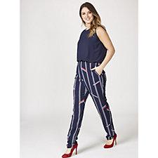 L'Officina della Moda Blouson Graphic Print Jumpsuit