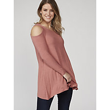 Ribbed Cold Shoulder Top by Nina Leonard