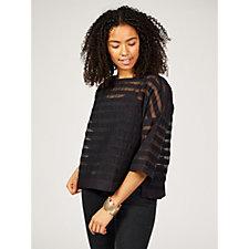 WynneLayers Shadow Stripe Pullover Top
