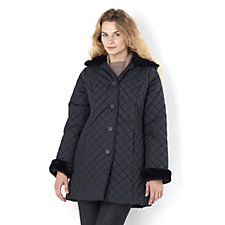 Dennis Basso Faux Fur Trim Hood & Cuffs Quilted Jacket