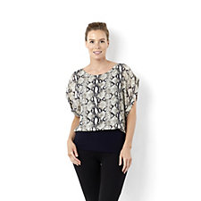 Trinny & Susannah Animal Print Crepe Top with Jersey Lining