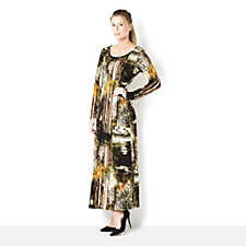 Attitudes by Renee Printed Jersey Maxi Dress with Side Splits