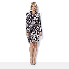 Kim & Co Brushed Venechia Feathered Leo Drape Neck Long Tunic Dress
