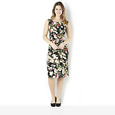 158307 - Kim & Co Butterfly Floral Brazil Knit Sleeveless Ruched Dress